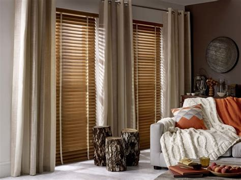 wood blinds with curtains a stylish combination wood venetian blinds and curtains