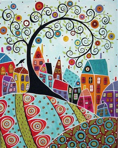 doodlebug painting bird houses and a swirl tree painting original abstract
