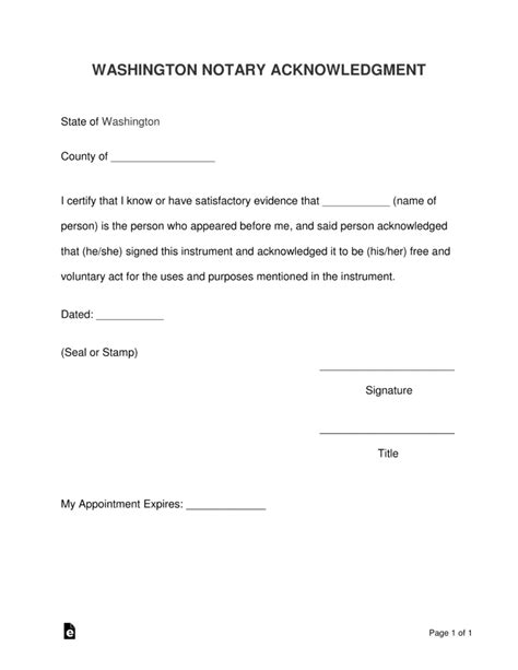 Notary Template Washington State Free Washington Notary Acknowledgment Form Word Pdf Eforms Free Fillable Forms