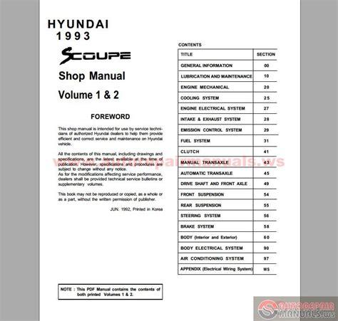 hyundai scoupe 1993 full manual auto repair manual forum heavy equipment forums download