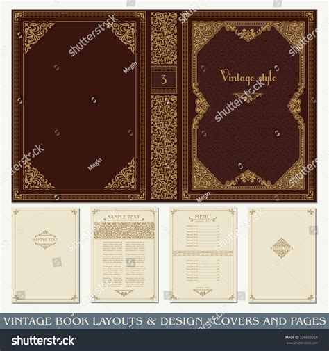 vintage layout book vintage book layouts design covers pages stock vector
