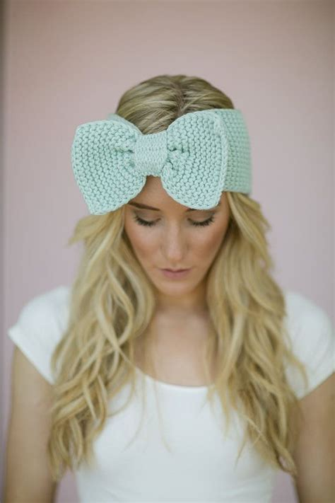 how to knit a hair band knitted bow headband mint ear warmer headband in green