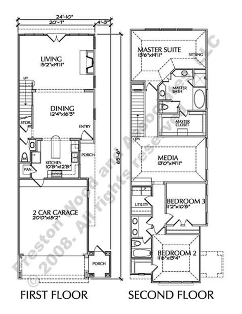 townhouse plans narrow lot two story townhouse floor plans narrow yahoo image