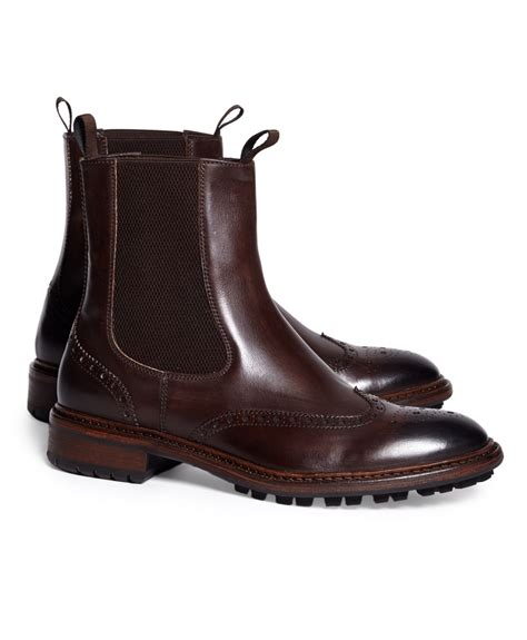 brothers wingtip lug sole chelsea boot in brown for