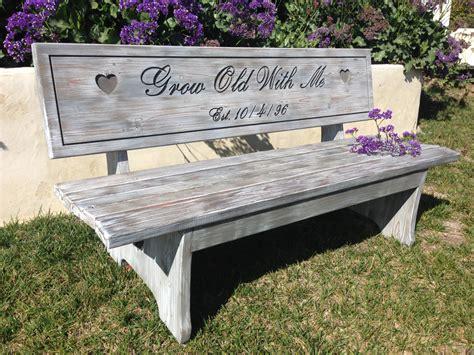 engraved bench anniversary bench custom engraved bench whitewash stain