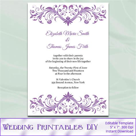 printable wedding invitation lavender items similar to wisteria wedding invitation template diy