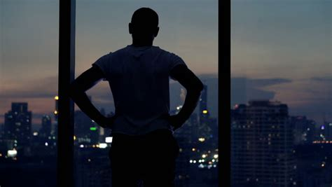 young man admire view  stock footage video