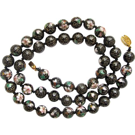 vintage cloisonne bead necklace vintage cloisonn 233 bead necklace from