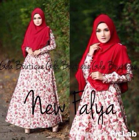desain gamis motif bunga trend busana muslim gamis katun motif bunga terbaru