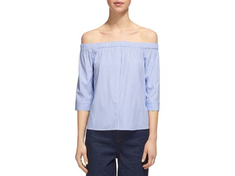 Stripe Top lyst whistles the shoulder striped bardot top in blue