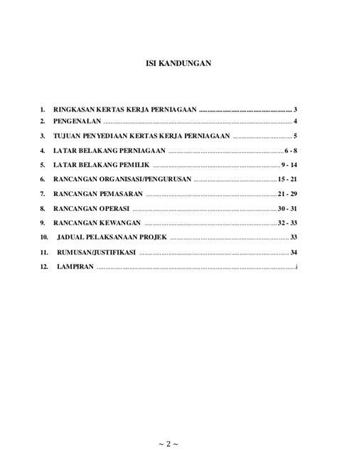 format proposal untuk memulakan perniagaan kertas kerja perniagaan lm 2025