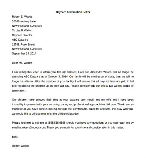 11 Employment Termination Letter Templates Free Sle Exle Format Download Free Preschool Staff Contract Templates