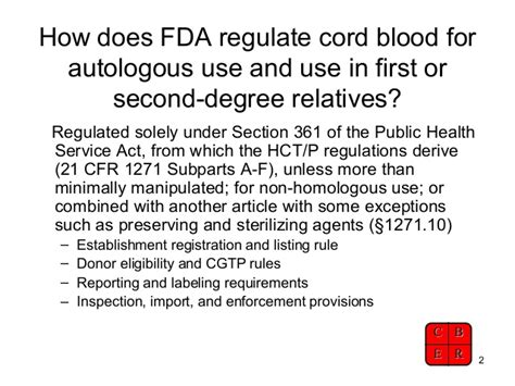 public health service act section 361 fda update on cord blood reg aabb 2009