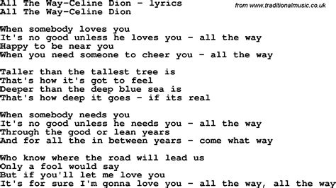 song lyrics for all the way dion