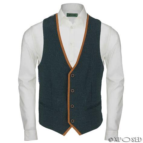 Vest Casual new mens stretch blue green waistcoat smart casual slim fit suede trim vest ebay
