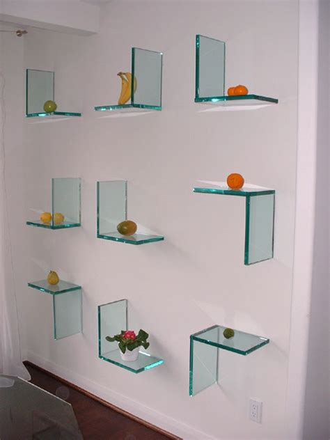 glass wall shelves popular design modern wall mounted decorative glass