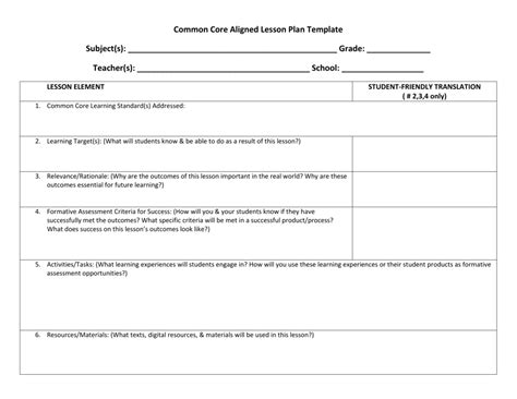 common aligned lesson plan template doc 585455 toddler lesson plan template 3 templatereport