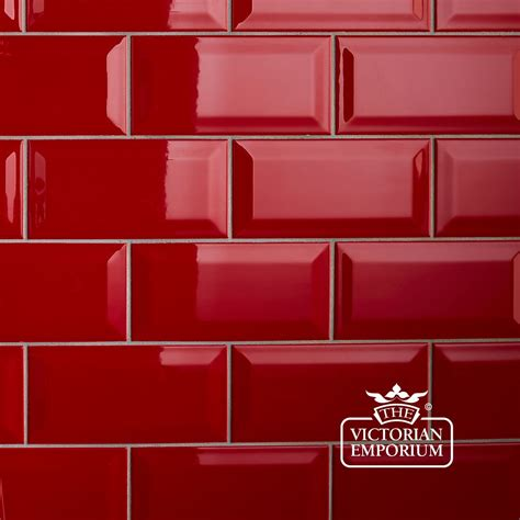 Period Bathroom Ideas by Bevel Wall Tiles 100x200mm Red Interior Ceramic Wall Tiles