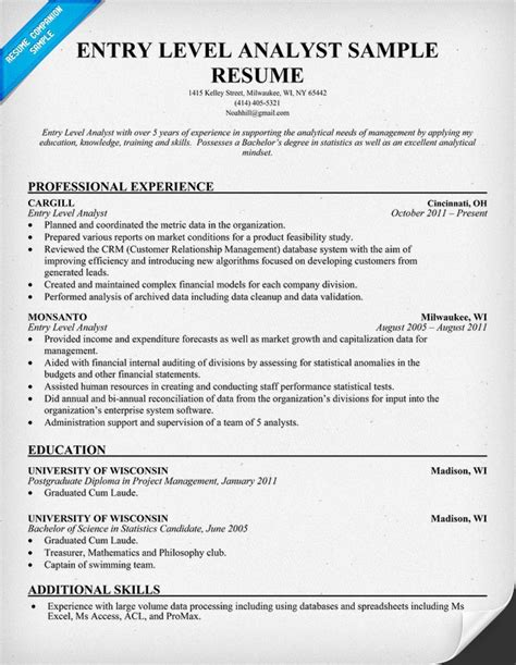 Best Resume Template For Business Analyst Business Analyst Resume Exles Template Resume Builder