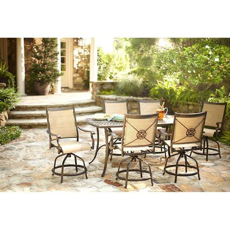 High Dining Patio Sets Martha Stewart Living Solana Bay 7 Patio High Dining Set Abc Set 1148 7 The Home Depot