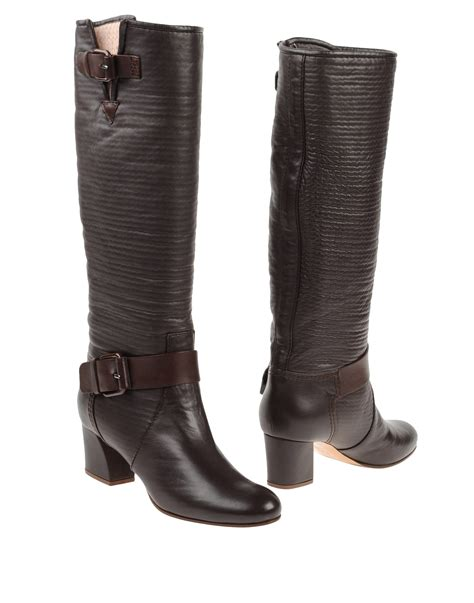 brown high heeled boots casadei high heeled boots in brown lyst