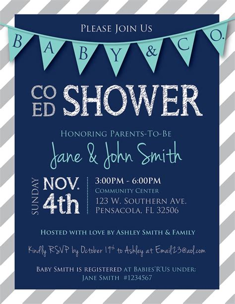 for coed baby shower co ed baby shower flags and stripes invitation navy