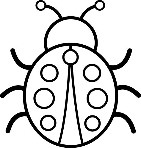 easy bug coloring pages black and white pictures cute colorable ladybug free