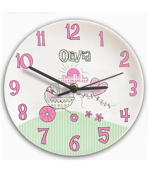 personalised clock for girls bedroom pram just for gifts