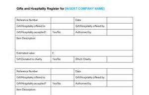 Gift Registry Template by Gifts And Hospitality Register Template Bizorb