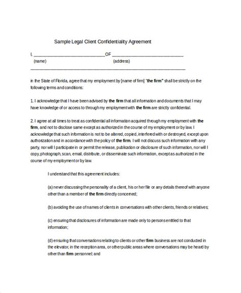 confidentiality agreement non disclosure agreement form format confidentiality agreement form