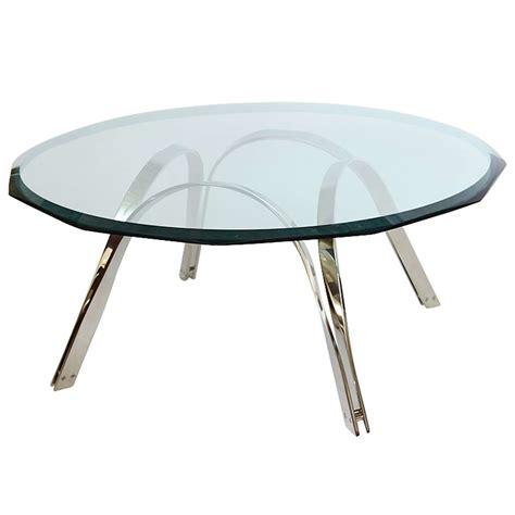 Coffee Table Silver Roger Sprunger Style Sculptural Silver Glass Cocktail Table At 1stdibs