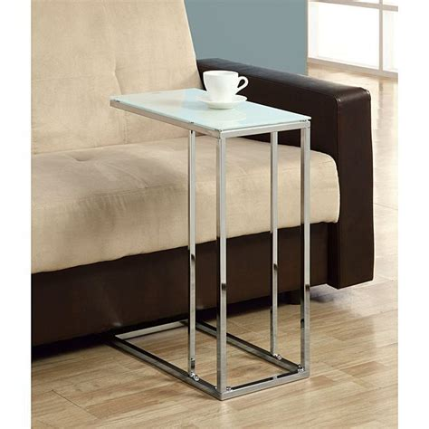 glass top sofa table metal chrome metal accent table with tempered glass by monarch