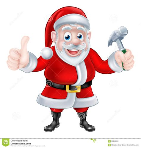 santa claus thumbs up santa giving thumbs up and holding hammer stock vector image 56845586