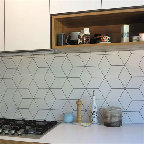pattern tiles melbourne beautiful geometric tiled splashback white kitchen