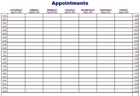 weekly appointment calendar template free free printable weekly appointment calendar printable