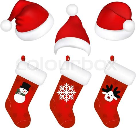 set of new years caps and socks isolated on white