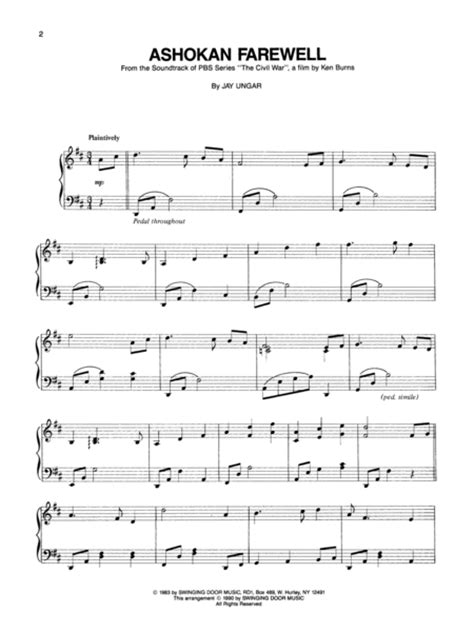 Sheet music: Jay Ungar: Ashokan Farewell - Easy Piano