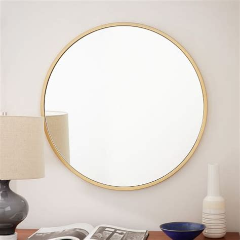 metal framed wall mirror antique brass 249 30