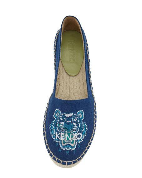 Kenzo Tiger Flat Espadrille 2 kenzo tiger embroidered canvas espadrille flat bleu marine