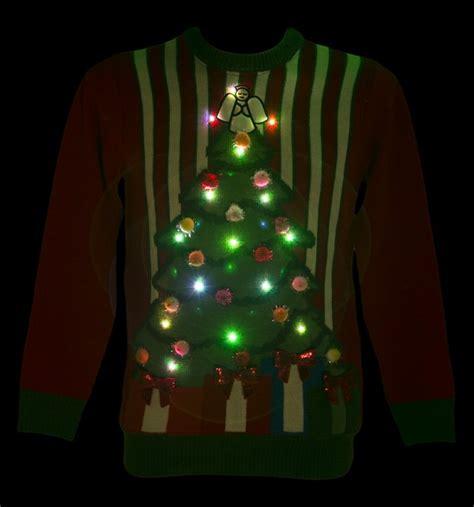 christmas tree jumper with lights unisex light up the night before christmas pom pom jumper
