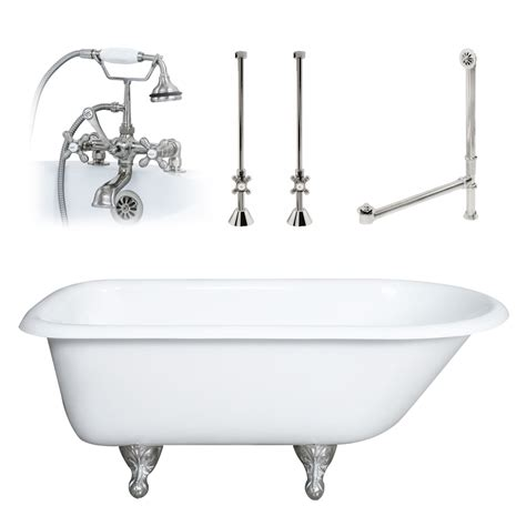 Dh Plumbing by 55 Quot Cast Iron Rolled Clawfoot Tub With Plumbing Package