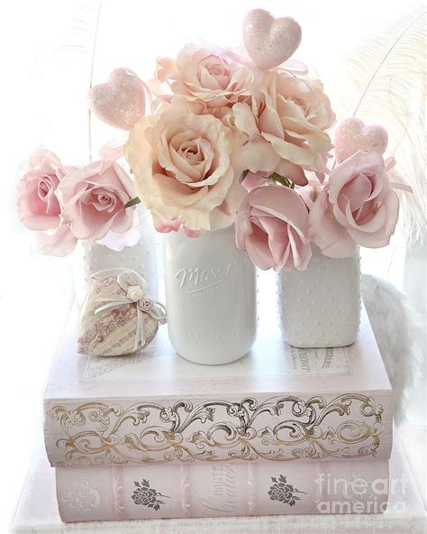 dreamy pastel shabby chic peach and pink white roses