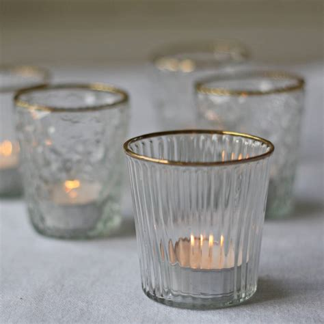 antique gold tea light holders the wedding of my dreams clear glass tea light holder with gold rim by the wedding