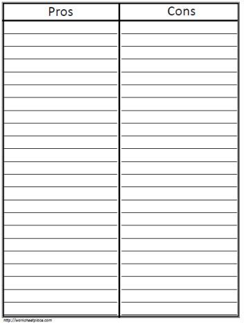 pro con list template t chart pros and cons worksheets