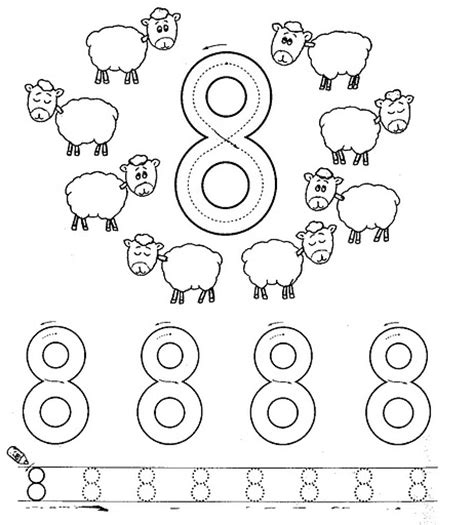 coloring page of the number 8 number eight 8 coloring and tracing worksheets 12 math