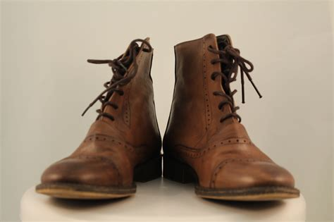 zara womens brown distressed boots sz 8 leather ankle lace