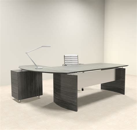 2pc modern contemporary l shaped executive office desk set