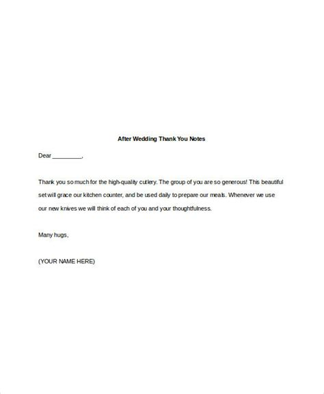 thank you letter after wedding 4 wedding thank you note exles sles