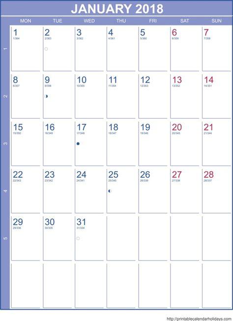 Calendar January 2018 Printable January 2018 Calendar Template Portrait Printable 2017