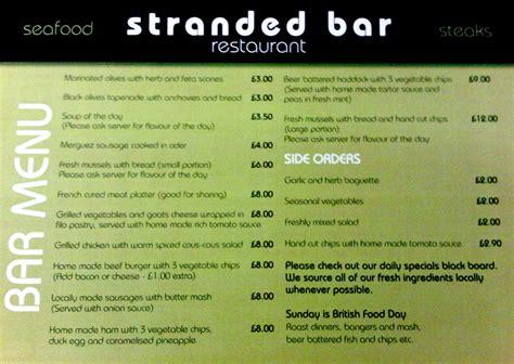 bar menu stranded bar restaurant